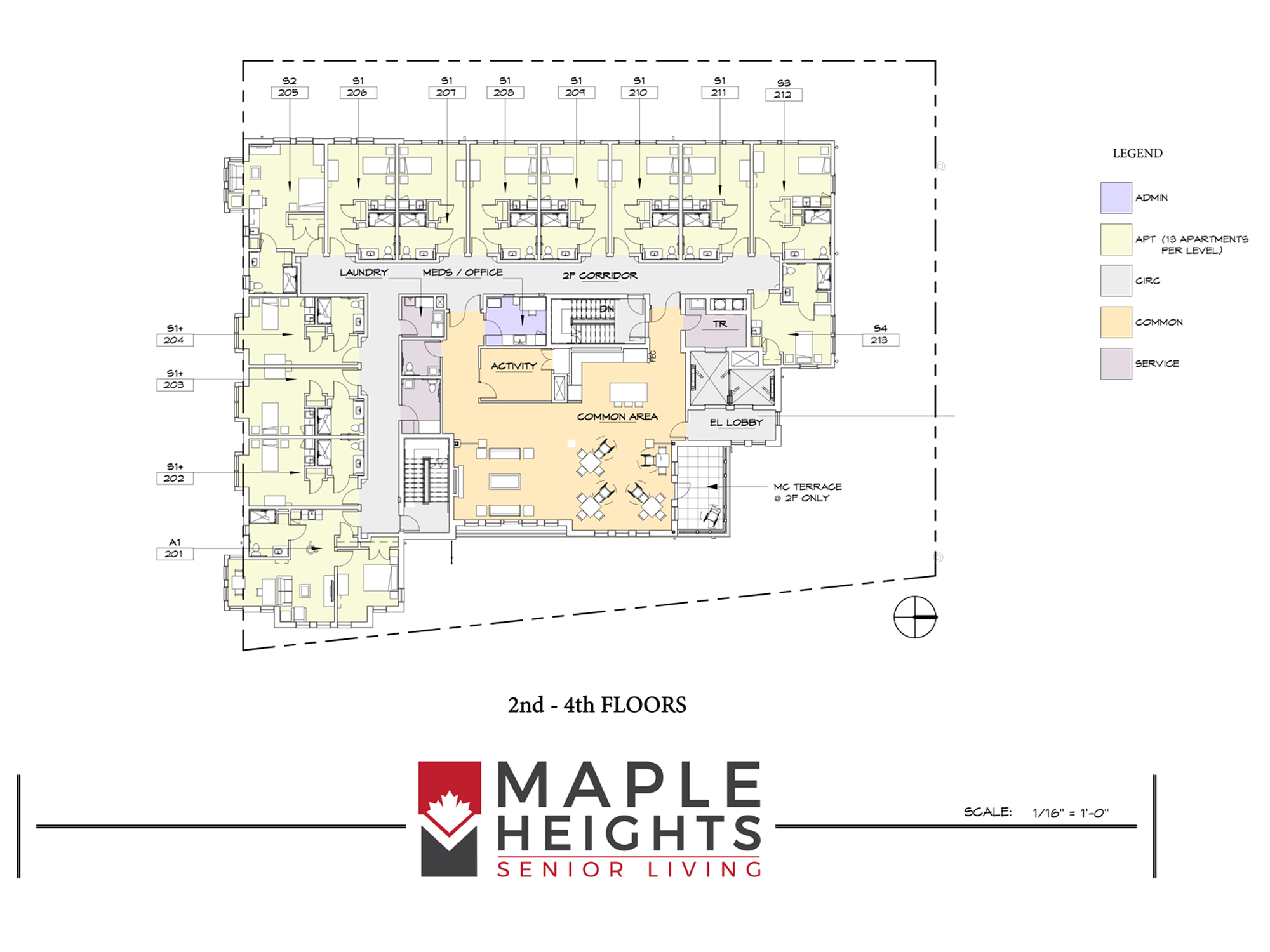 Washington DC Senior Living Floor Plan 2nd-4th Floors