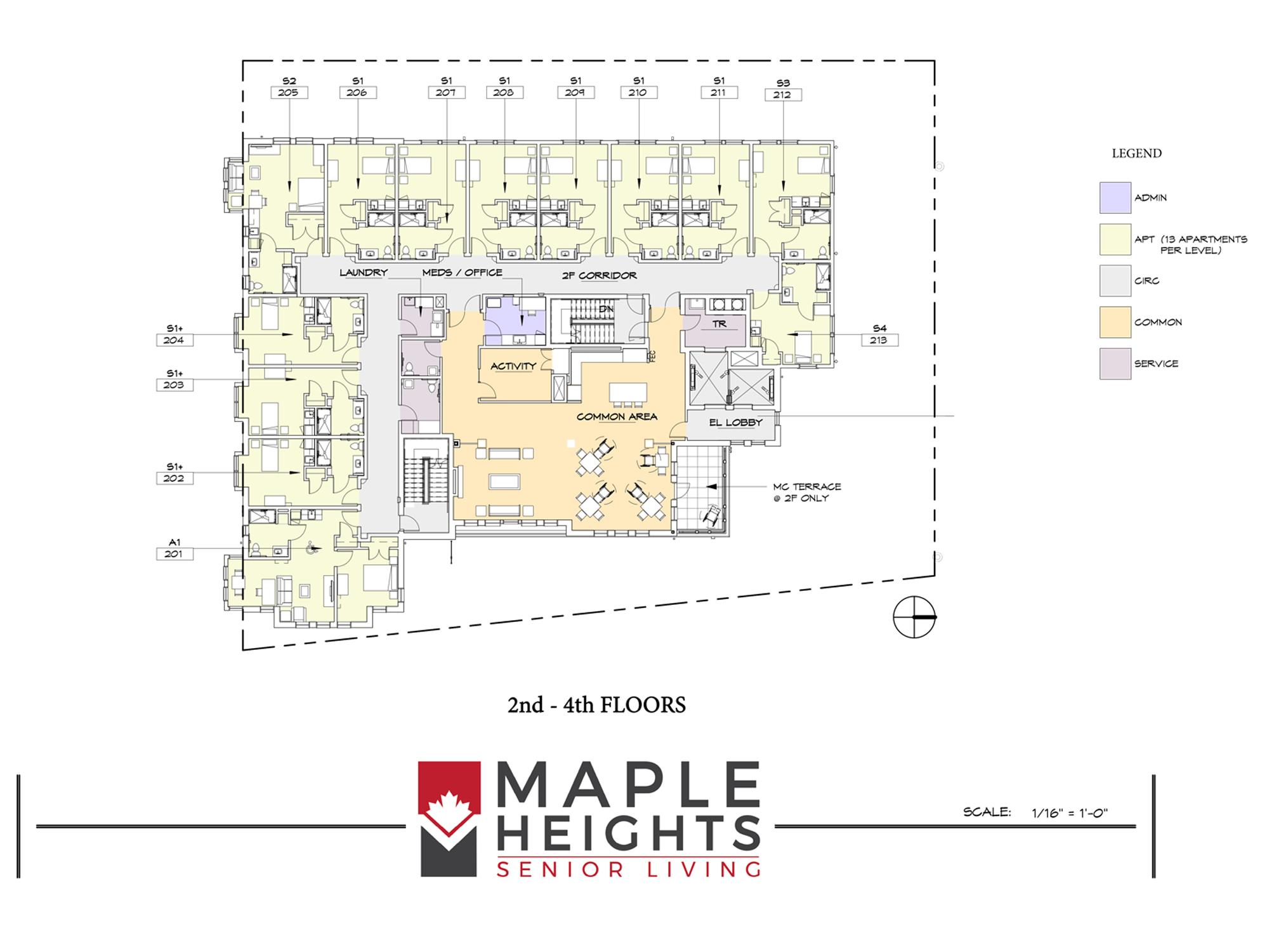 Washington DC Senior Living Floor Plan 2nd-4th Floors