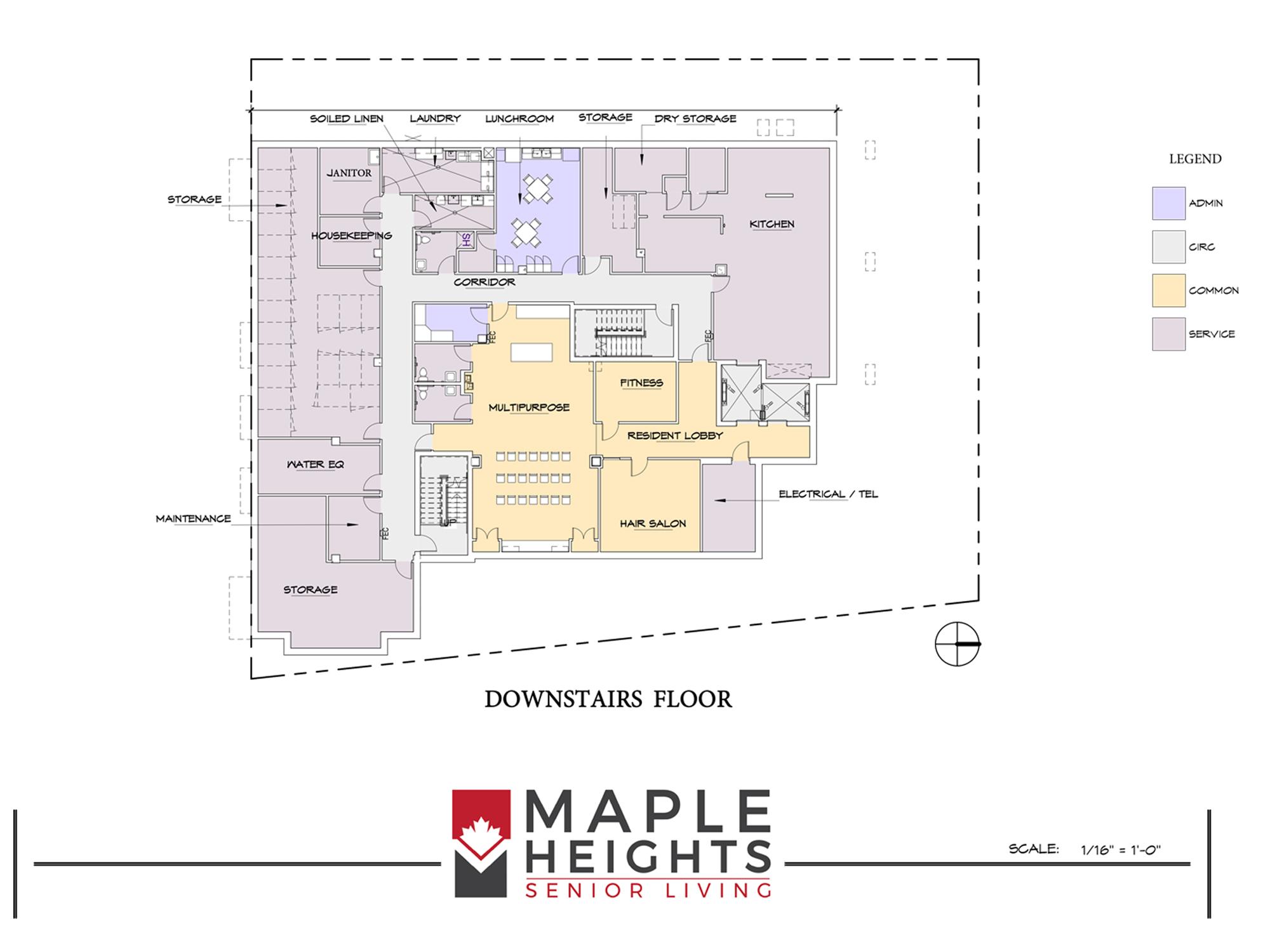 Washington DC Senior Living Floor Plan Downstairs